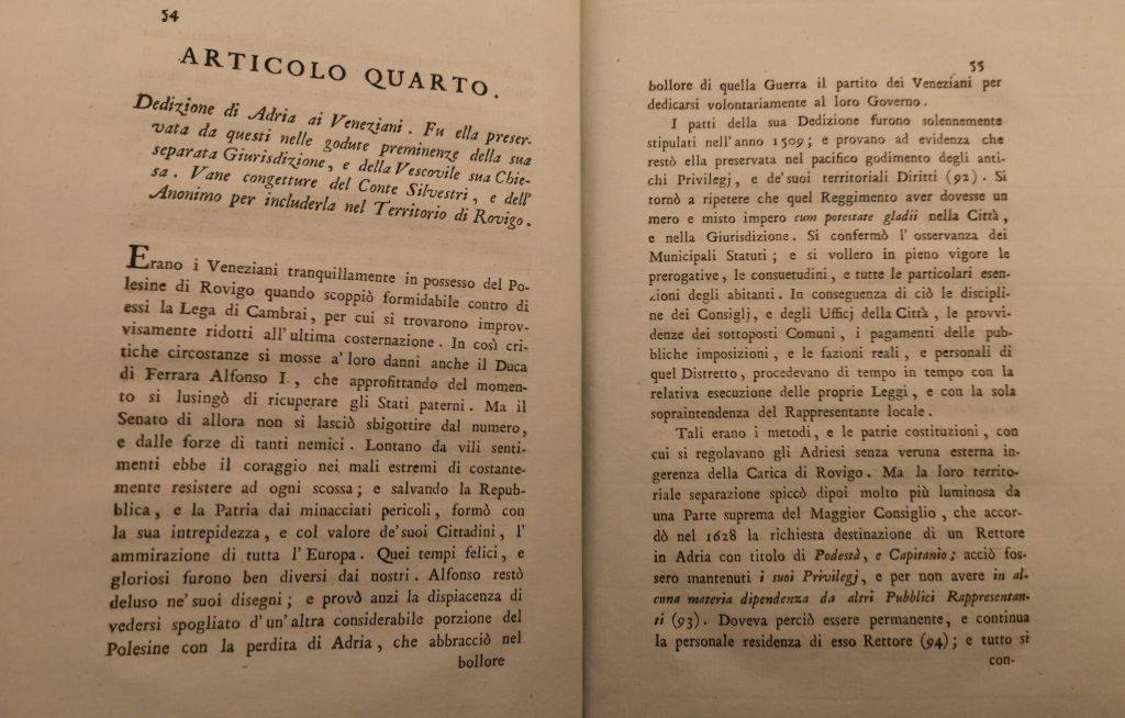 Continua la storia di Adria tra Ferrara e Venezia - Frontespizio dell'articolo quarto, Biblioteca Comunale di Adria, XX-K-6