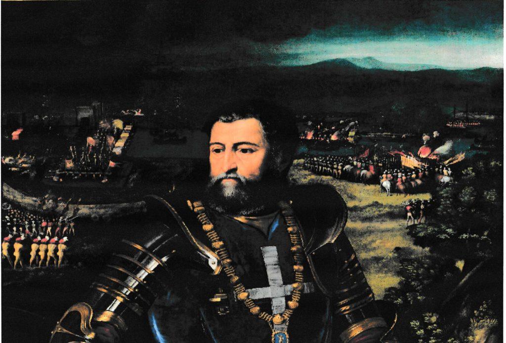 Continua la storia di Adria tra Ferrara e Venezia - Particolare del ritratto di Alfonso I d'Este, sullo sfondo la battaglia della Polesella