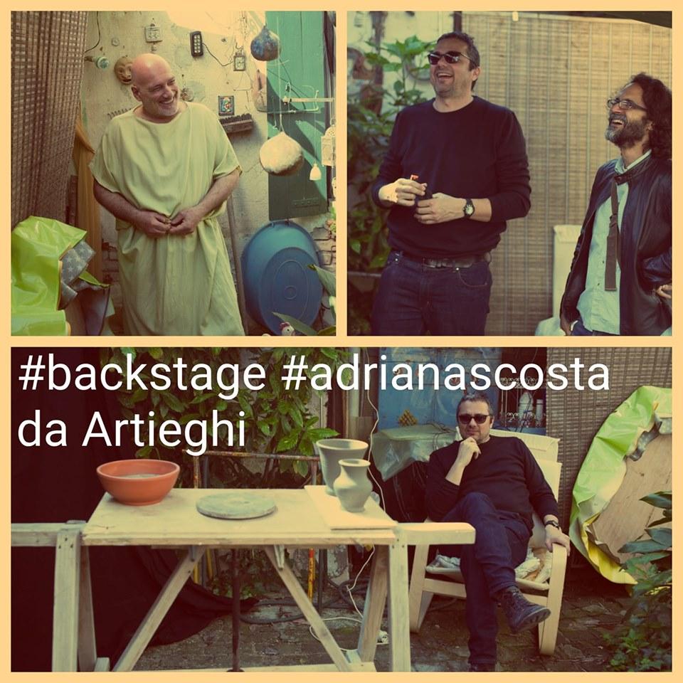 Adria nascosta - collage di foto delle riprese realizzate presso Artieghi con uomo in costume romano, regista Beccari