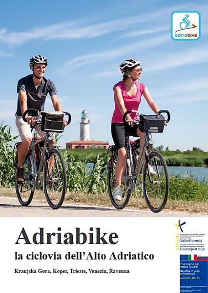 Adriabike - frontespizio del pieghevole illustrativo di Adriabike la ciclovia dell'Alto Adriatico