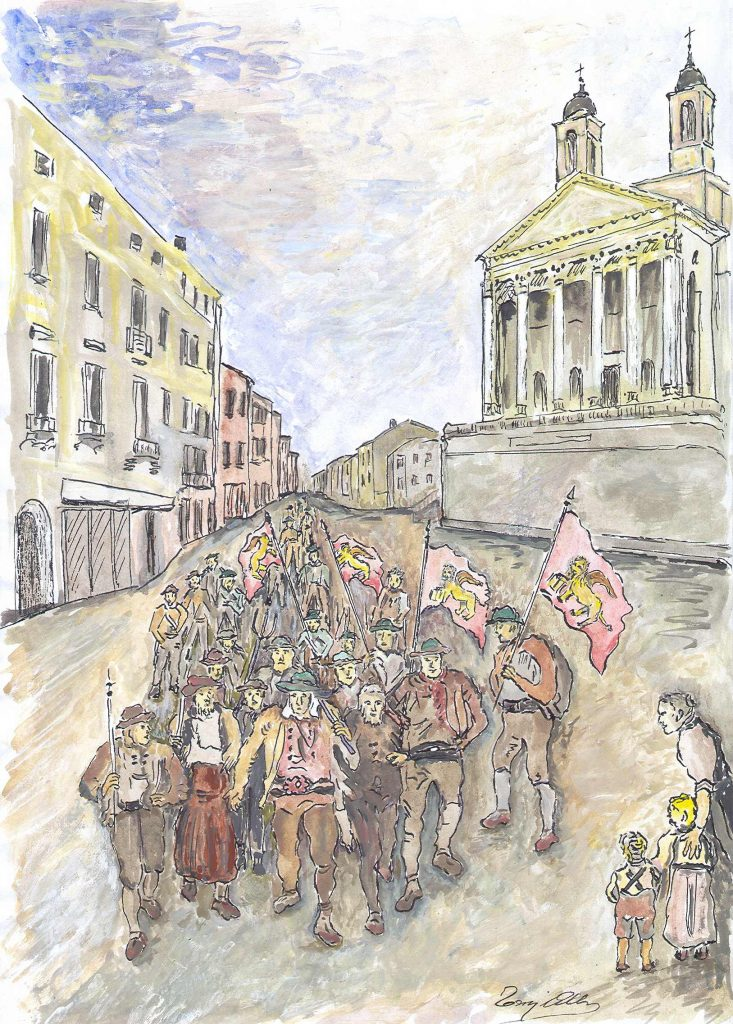 Bande Di Insorti che entrano in citta' nelle insorgenze venete del luglio 1809