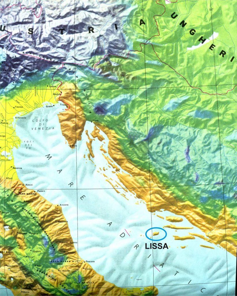 La Precisa Posizione Di Lissa (vis In Croato) Nell'adriatico