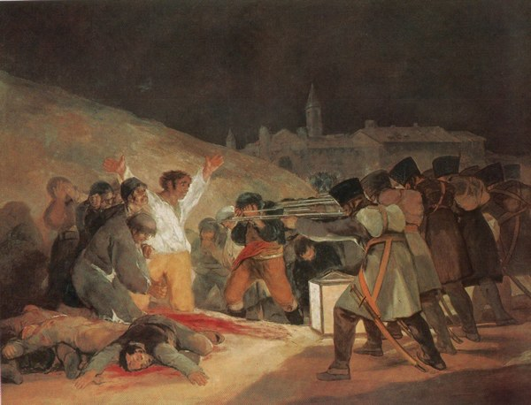 Dipinto del pittore Goya sulle fucilazioni degli insorti spagnoli nell'ambito delle Insorgenze del 1809