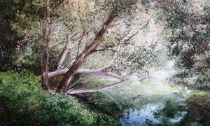 La Pittura Nel Delta Claudio Marangoni dipinto Riposo In Golena (olio Su Tela Cm. 100 X 60)