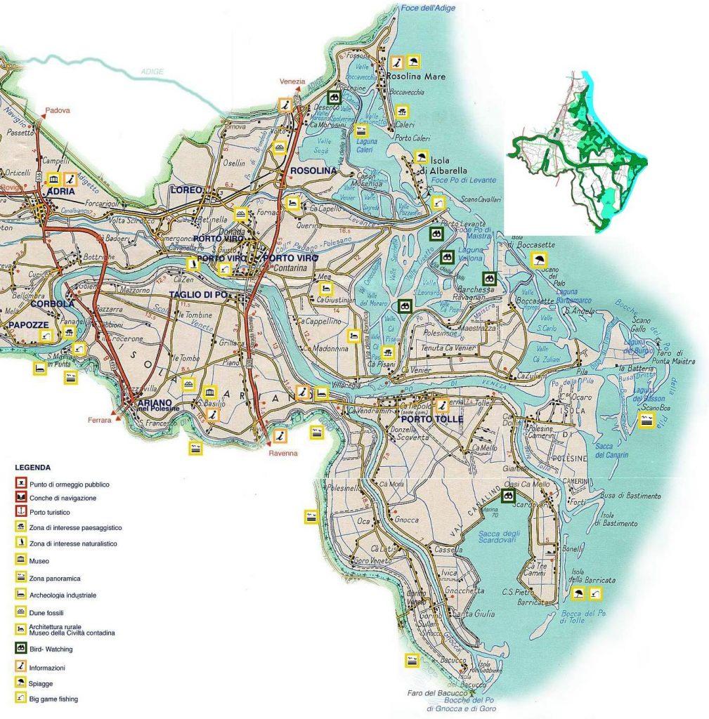Delta del Po - cartina geografica del Delta del Po