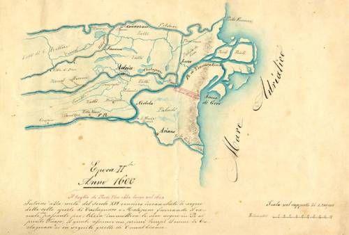 Delta del Po - mappa che raffigura il Delta del Po nel 1600