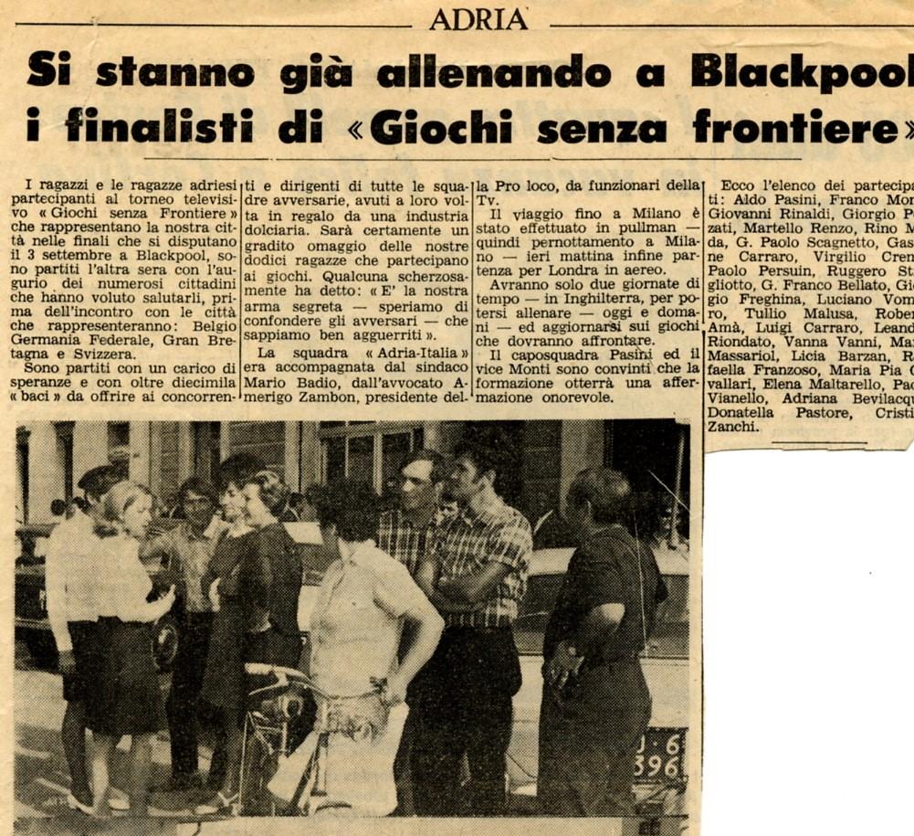 Articolo della stampa locale del 1969