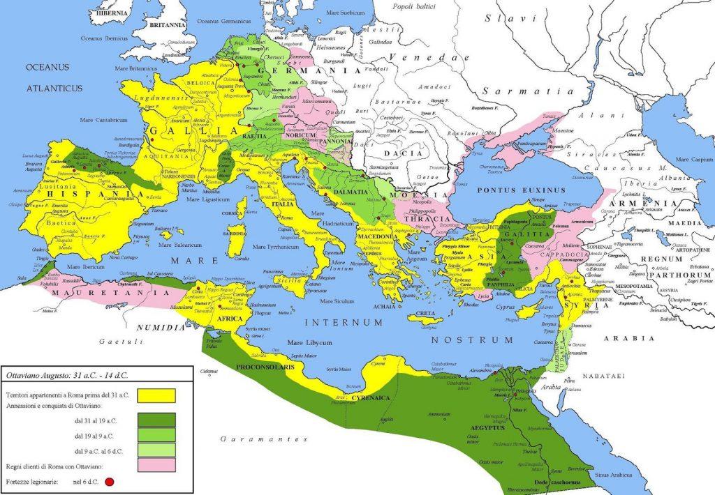 Mappa dell Impero Romano ai tempi di Ottaviano Augusto