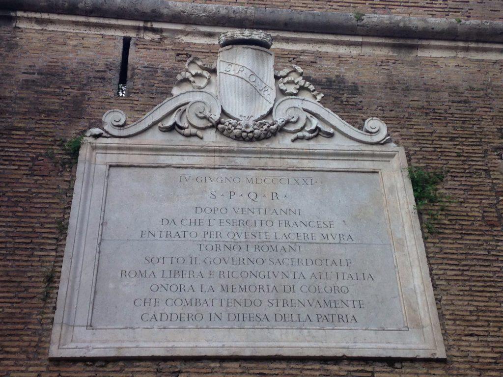 In nome d'Italia - Targa In Memoria Dei Caduti Della Repubblica Romana Foto Rerum Romanarum