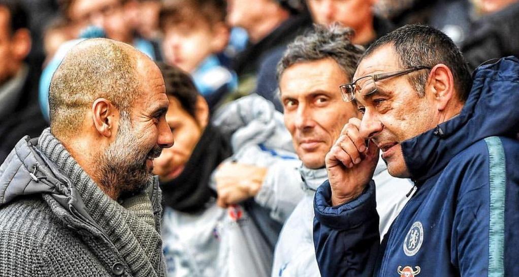 Uno Scatto Che Riprende Luca Con Sarri E Guardiola