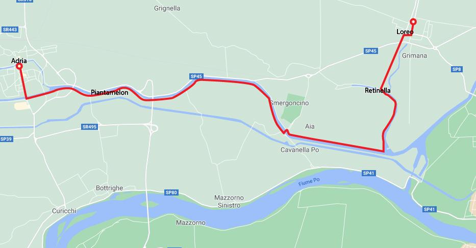 Da Adria a Chioggia in bicicletta Adria Loreo 100