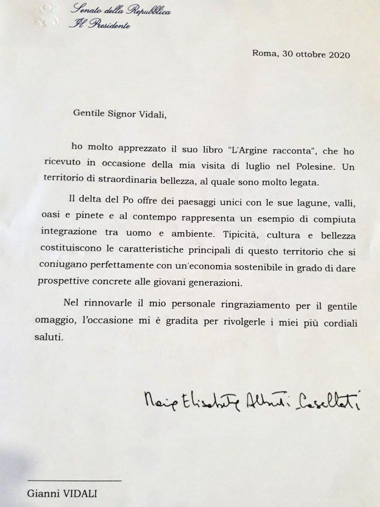 La Presidente del Senato Lettera Della Casellati