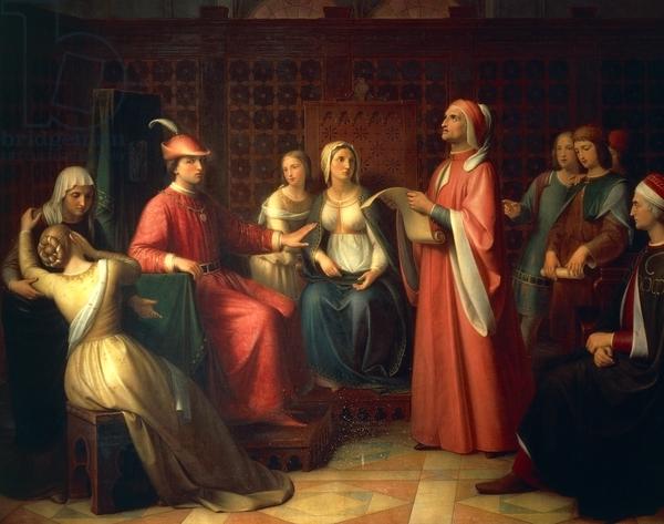 Dante Alighieri (1265 1321) Reading Divine Comedy In Guido Novello's Court, 1850, By Andrea Pierini (1798 1858), Oil On Canvas, Italy, 19th Century