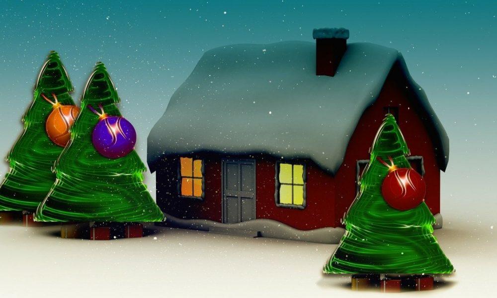 Casetta di Babbo Natale innevata