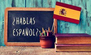 la giornata della lingua spagnola-Lavagna Con Scritta Hablamos Español