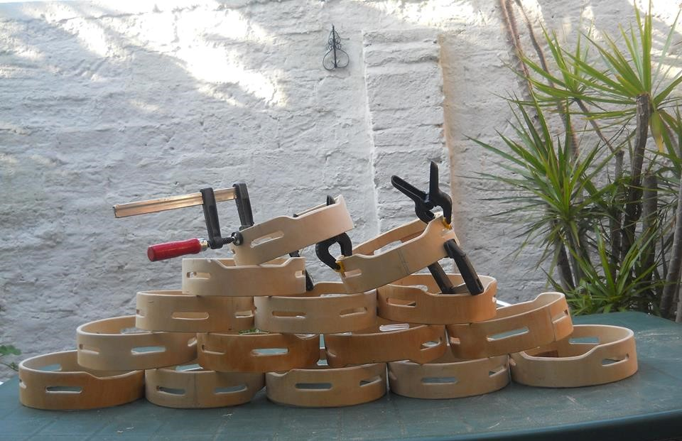 La construcción del tamburello.