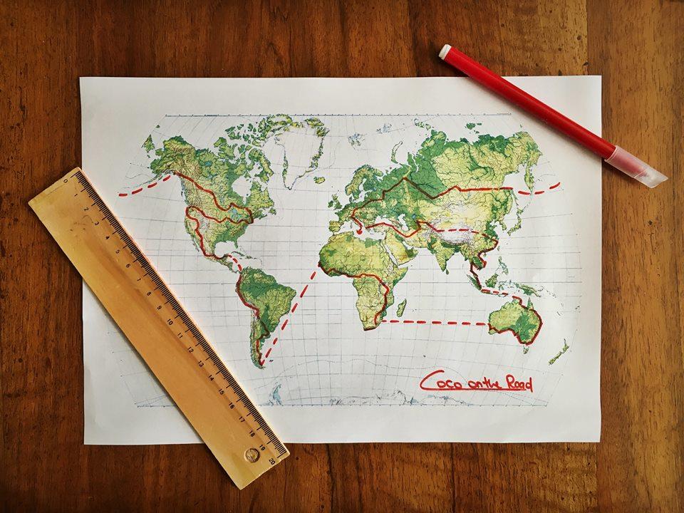 Mapa del percorso del giro al mondo.
