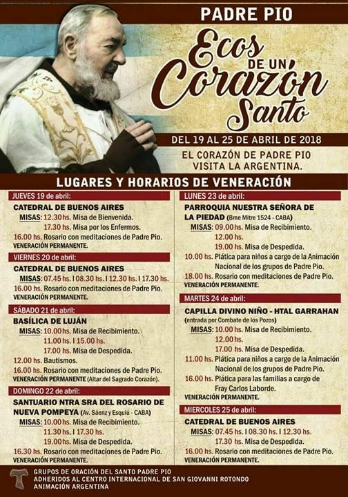 El Corazón Del Padre Pío Visitará La Argentina Del 19 Al 25
