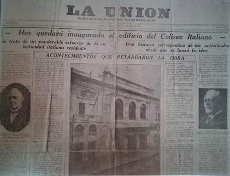 Diffusione dell'inaugurazione del Coliseo nei giornali di Buenos Aires. Teatro Coliseo di Lomas de Zamora.