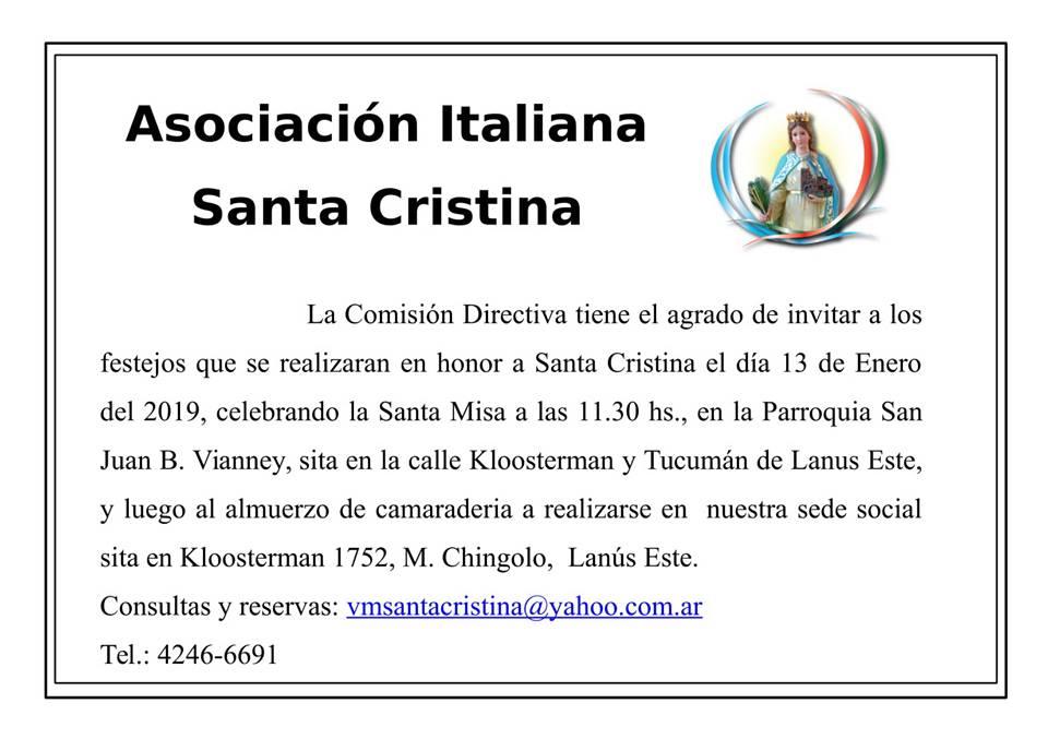 La Asociación Italiana Santa Cristina invita a los festejos en honor a la Santa Patrona.