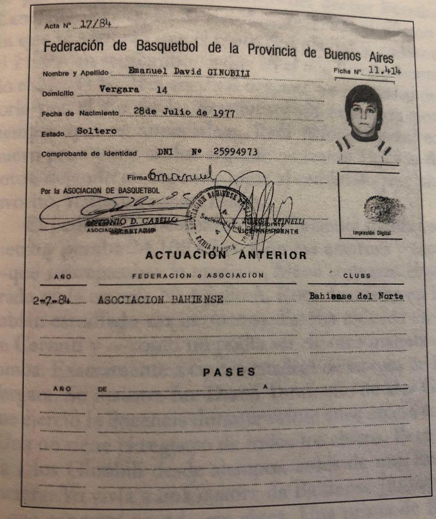 Manu Ginóbili - Registro del Primer Club