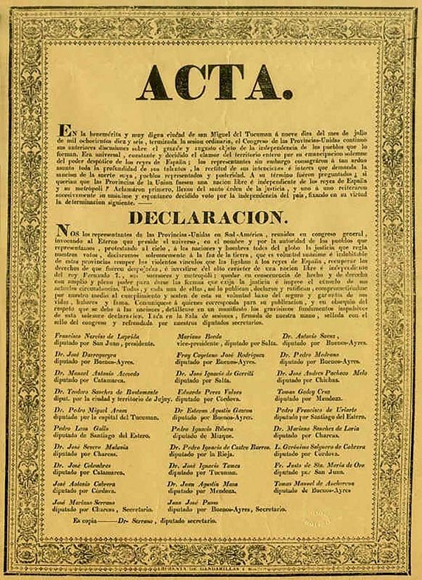 9 de julio de 1816 - Acta de la Independencia