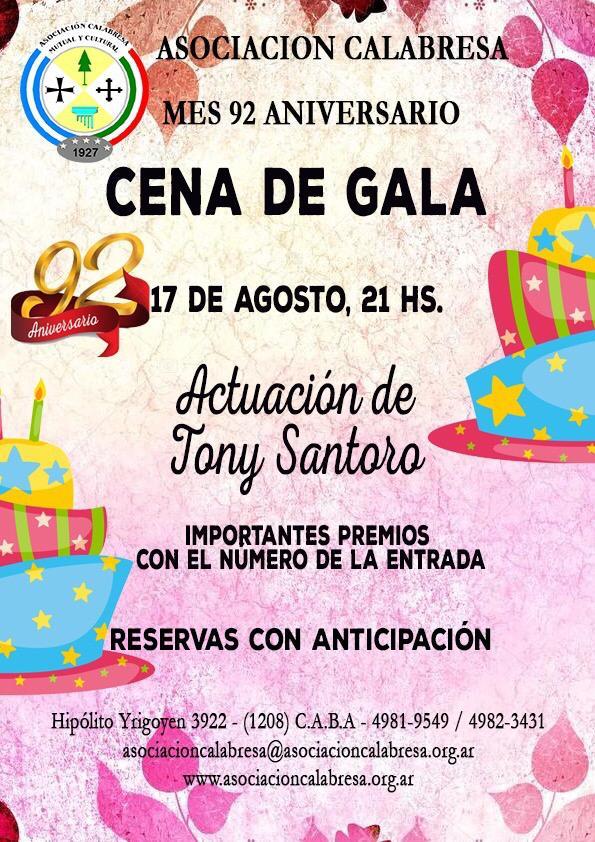 Aniversario de la Asociación Calabresa - Cena De Gala