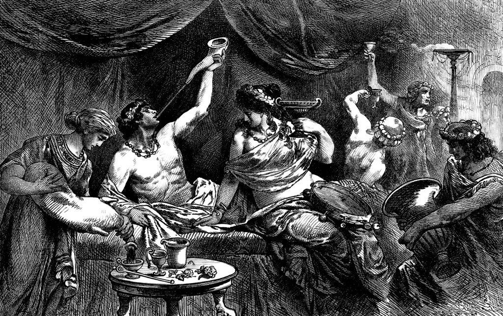Una rappresentazione del 1881 di un pranzo nell'Antica Roma. In primo piano notiamo dei Patrizi romani intenti a gustare le loro pietanze servite dagli schiavi.