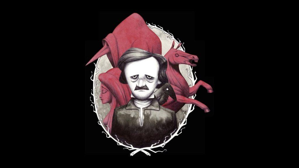 Una caricatura del grande scrittore statunitense E- A. Poe. Autore di innumerevoli racconti dello orrore.