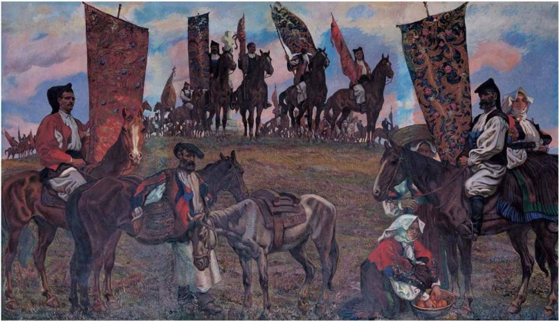 Dipinto La Sagra Di San Costantino, uomini in costume sardo siedono a cavallo su una collina