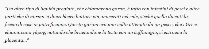 Citazione di Plinio Il Vecchio in cui descrive la salsa Garum