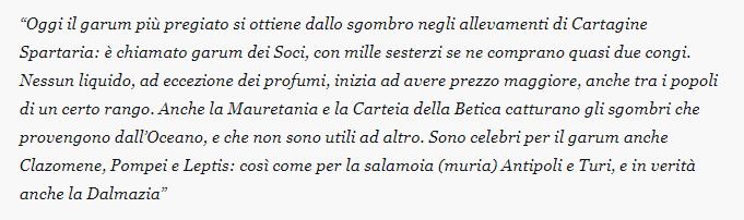 Descrizione di Plinio Il Vecchio riguardo la produzione della salsa Garum da parte dei Greci