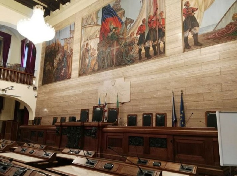 Sala Consiliare Comune Di Cagliari, dipinti Figari