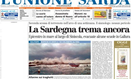 Titolo L'union Sarda Sul Terremoto
