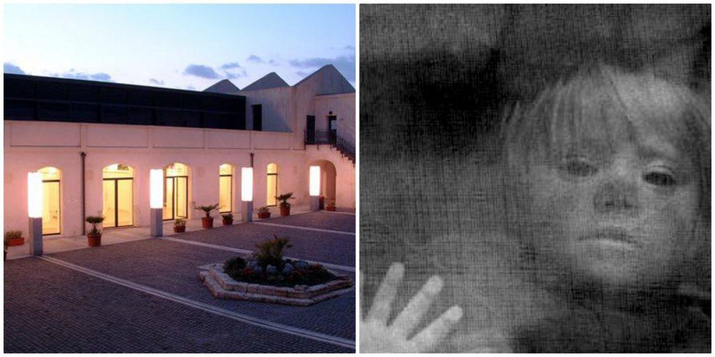 Fantasma Del Lazzaretto. La foto è divisa in due parti. Una parte ritrae uno scorcio della struttura del Lazzaretto mentre nell'altra parte si vede il viso di un bambino.