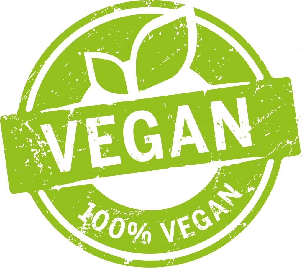Mangiare vegano a cagliari. Logo con la scritta vegan verde con delle foglie.