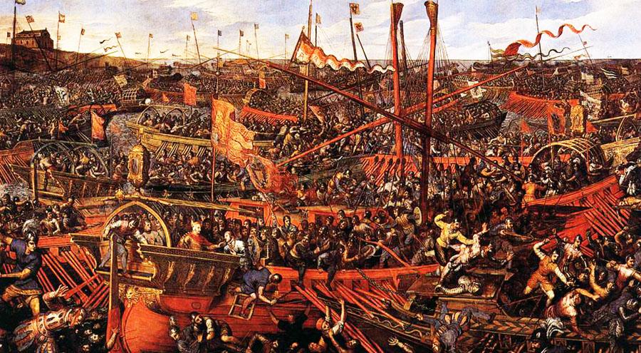 La battaglia di Lepanto, flotte in scontro, navi, marinai