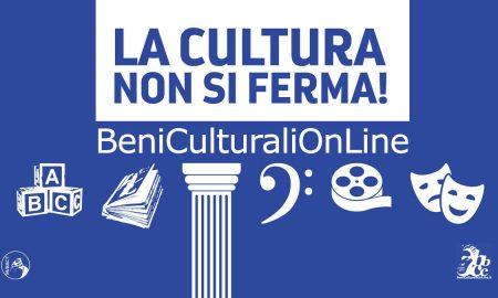 schermata blu su cui sono disegnati simboli dell'arte e della cultura con lo slogan la cultura non si ferma su fondo bianco parte dell'iniziativa #iorestoacasa