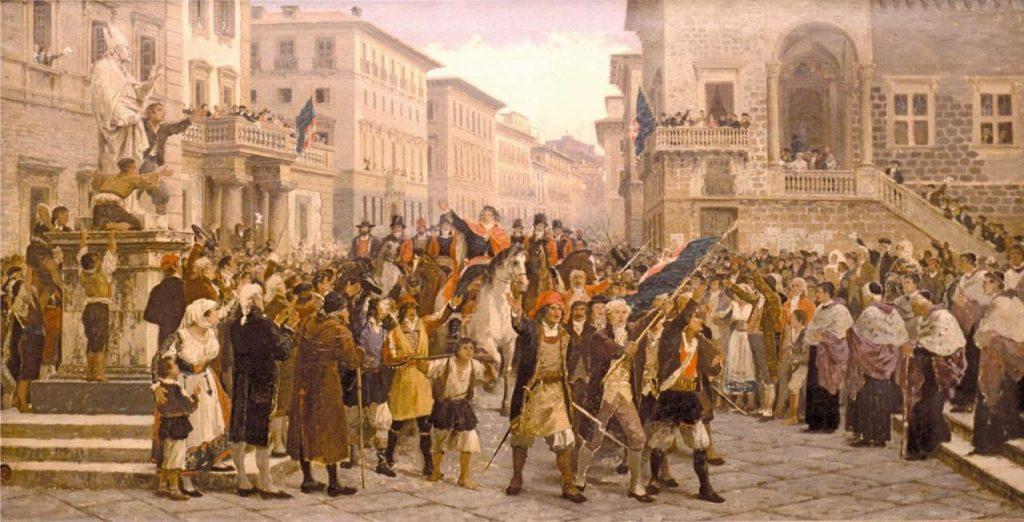 quadro che rappresenta i moti rivoluzionari e i cortei dei sardi_ sa die de sa Sardigna
