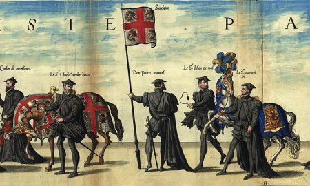 Bandiera Del Regno Di Sardegna Nel Corte Funebre Dell'imperatore Carlo V