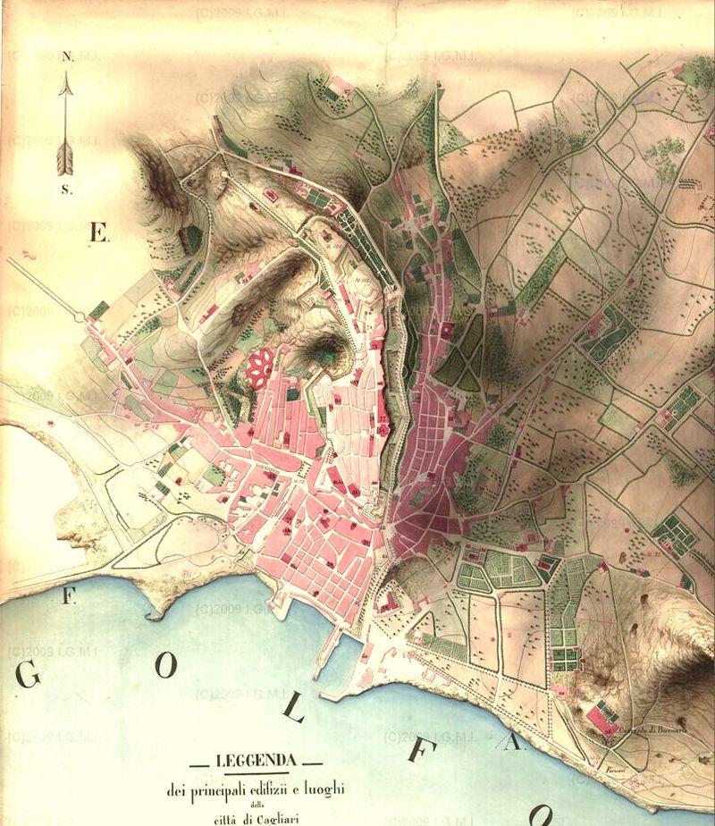 Mappa storica del 1858 della citta di Cagliari