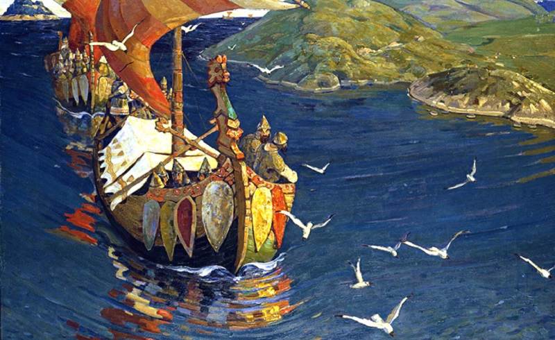 Immagine stilizzata dipinta di pirati saraceni in navigazione