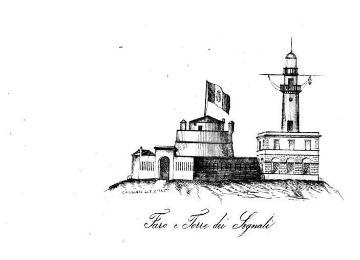 stampa di un bozzetto disegnato a matita che raffigura la torre dei Segnali e il faro di Capo Sant'Elia