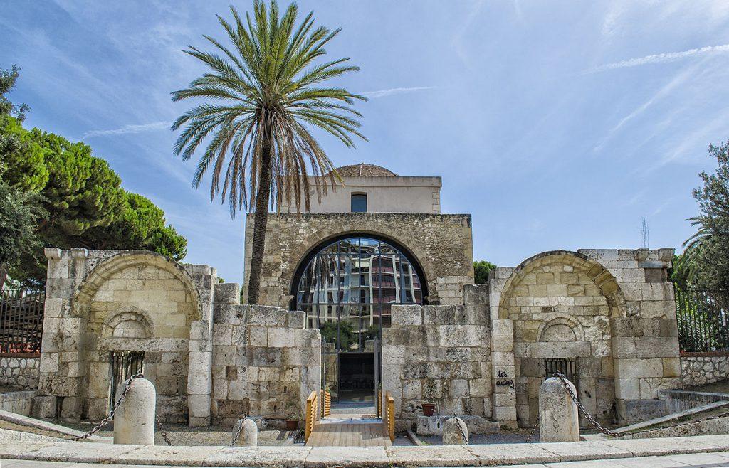 facciata della Basilica Di Saturnino con la palma alla sua sinistra