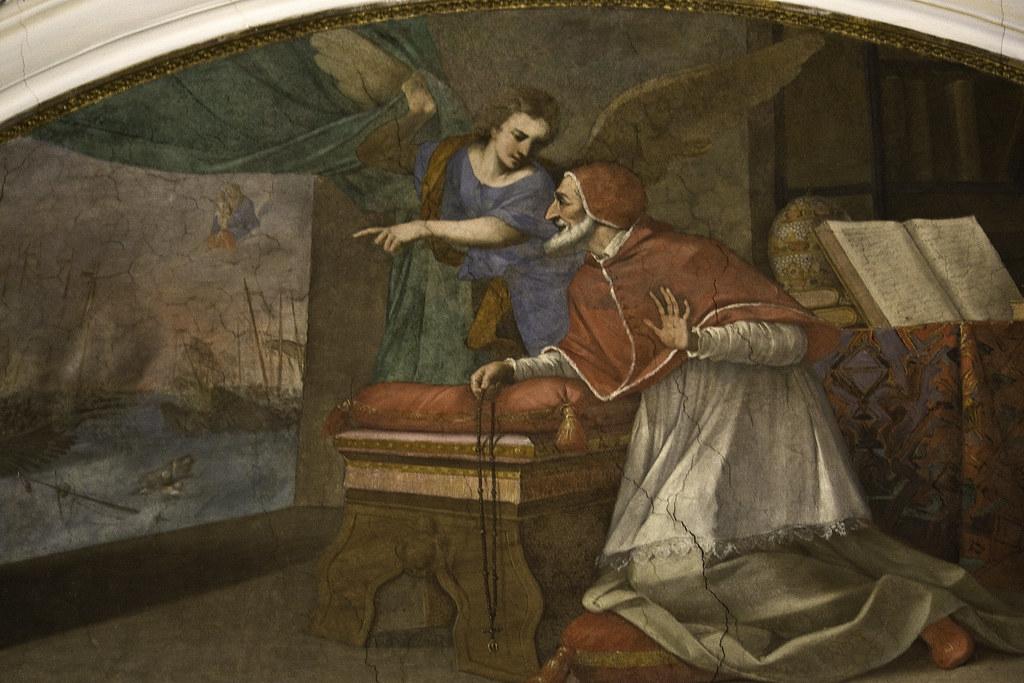 Battaglia Di Lepanto, papa pio V guarda la vittoria della Lega Santa