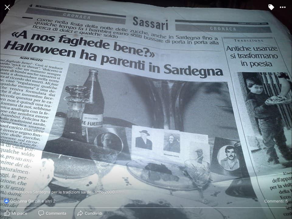 Articolo di in giornale che ritrae una delle tradizioni in occasione delle feste dei morti sardegna
