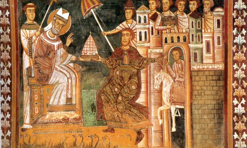 Mosaico raffigurante San Silvestro che riceve dalla mani una donazione da parte dell'imperatore costantino inginocchiato