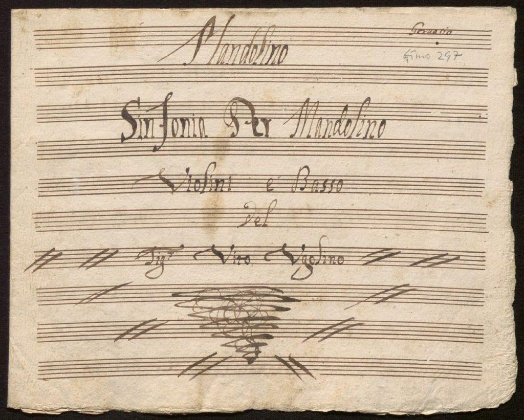 Dettaglio di uno spartito musicale antico musica per mandolino Giuseppe Anedda