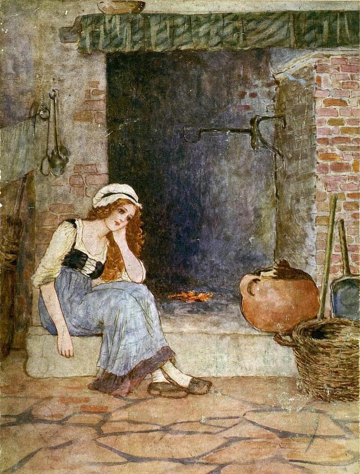 dipinto a colori di ragazza seduta suldavanti al camino, vestita poveramente Maria Chinisu