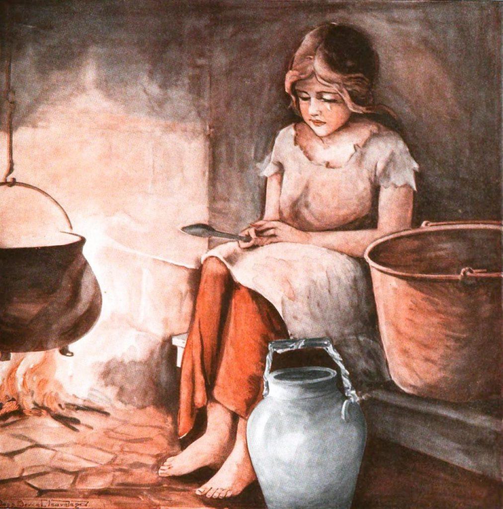 dipinto a colori di ragazza seduta vicino al focolare vestita di stracci Maria Chinisu